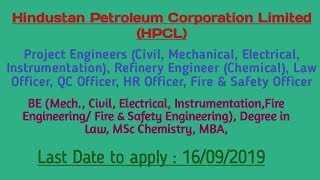 Hpcl recruitment 2019|project engineers ...