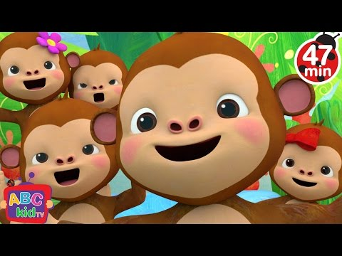 Five Little Monkeys Jumping on the Bed 2  + More Nursery Rhymes & Kids Songs  ABCkidTV