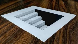 Easy 3D Steps in a Hole - Trick Art Drawing on Paper