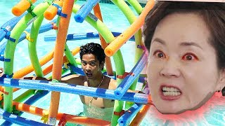 Giant Noodle Fort!! IN POOL!!!!