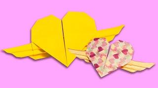 DIY Оригами сердце с крыльями / Сердечко из бумаги / ДомаВместе