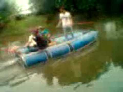 Rescue Boat Made Of Plastic Drums