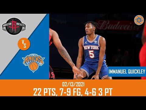Immanuel Quickley's Full Game Highlights: 22 PTS, 7-9 FG, 4-6 3PT vs Rockets   20-21 NBA Season  