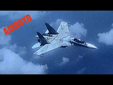 SU-30 Flanker Aggressively Shadows EP-3 Aries