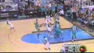 Allen Iverson 55 pts Playoff Career High vs NO Hornets 2003
