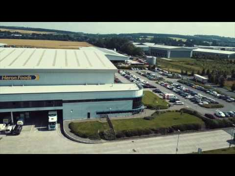 Drone footage of Heron Foods Melton Store Support Centre and Warehouse