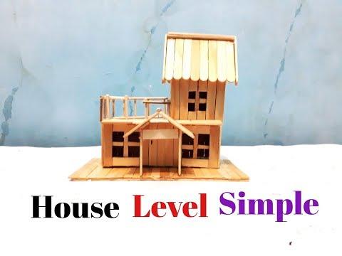Membuat Miniatur Rumah Tingkat Sederhana Dari Stik Es Krim Youtube