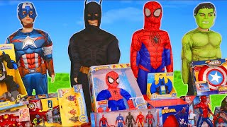 Superhero Toys Batman Spider man amp Avengers Toy Vehicles Unboxing for Kids