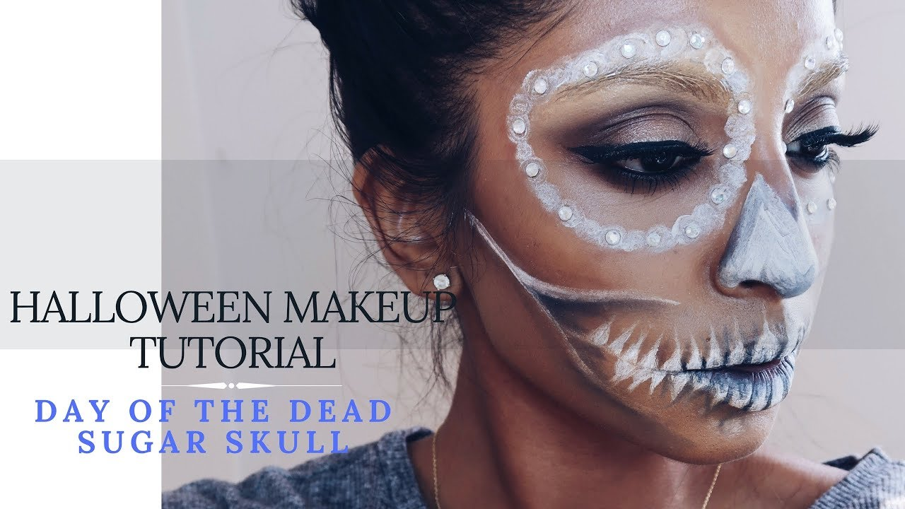 foto de Day of the Dead Sugar Skull Halloween Makeup Tutorial Jumani MUA YouTube