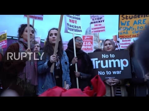 UK: Londoners rally against Trump's state visit outside Houses of Parliament