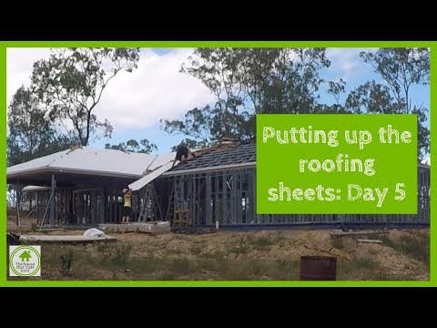 Installing roofing sheets on steel frame kit home – Day 5