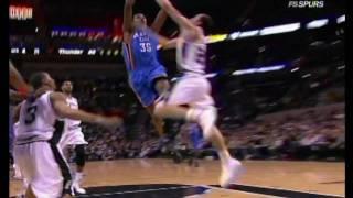 Manu Ginobili blocks kevin Durant!!