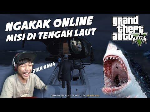 [GAMPLAK] MISI NGAKAK DITENGAH LAUT ft  SharkPo - GTA 5 Kocak Momen