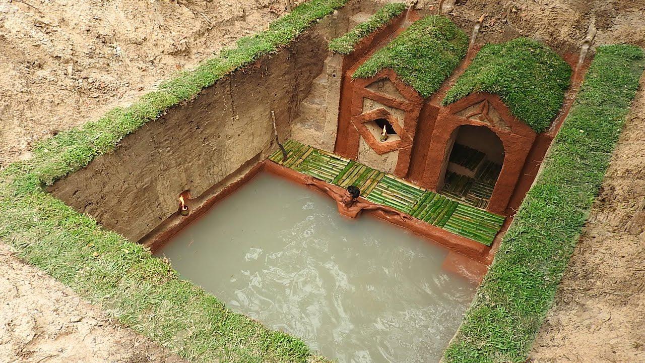 Most Amazing Underground Swimming Pool And Dig To Build Underground House Youtube Underground Swimming Pool Underground Homes Pool