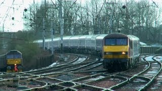 EWS 90026 leads the Caledonian Sleeper past Carlisle 26-01-13
