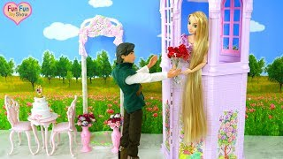 Rapunzel doll Wedding Tower Playset Unboxing Barbie Puppe Morgen Boneka Pernikahan Menara Mainan