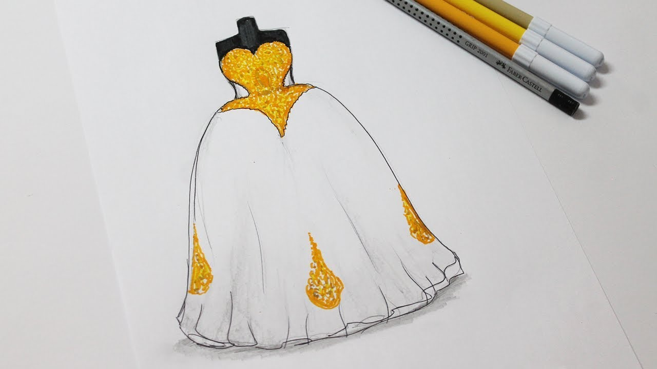 How to draw a wedding dress - Wedding Dress Drawing