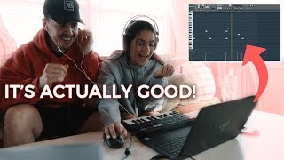MY GIRLFRIEND TRIES MAKING A BEAT! *It actually sounds good*