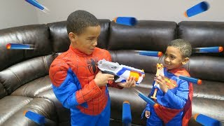 BAD SUPERMAN GRABS SPIDERMANS CONTROLLER AND THEY HAVE A NERF GUN WAR