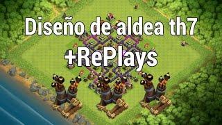 Diseño de aldea | Th7 | Defensiva y Subida de Copas + REPLAYS ( 3 Antiaereos )