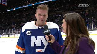 Crowd Goes Nuts for Robin Lehner After Shutout | New York Islanders Post Game