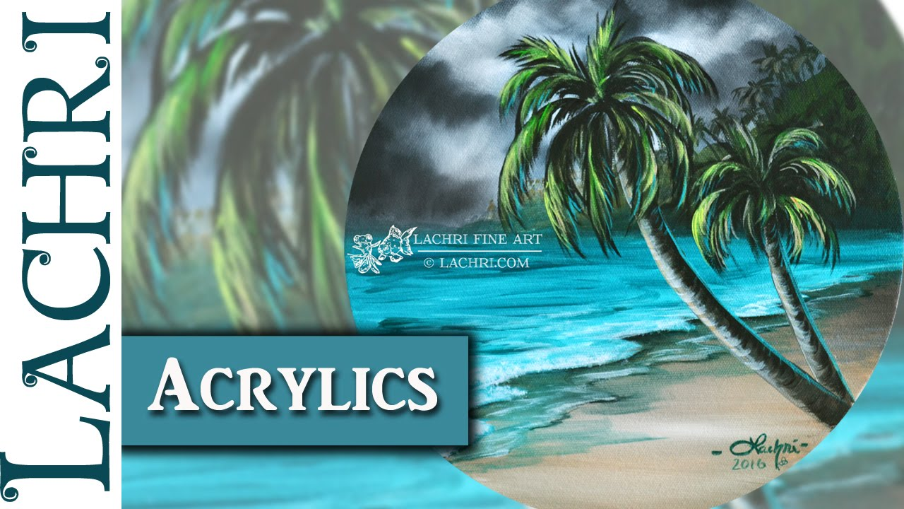 how to paint an easy beach and palm trees in acrylics tips