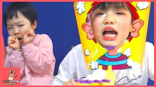 Pie Face Challenge For Kids! The Whipped Cream in the Face Game Toy Family Fun | MariAndKids