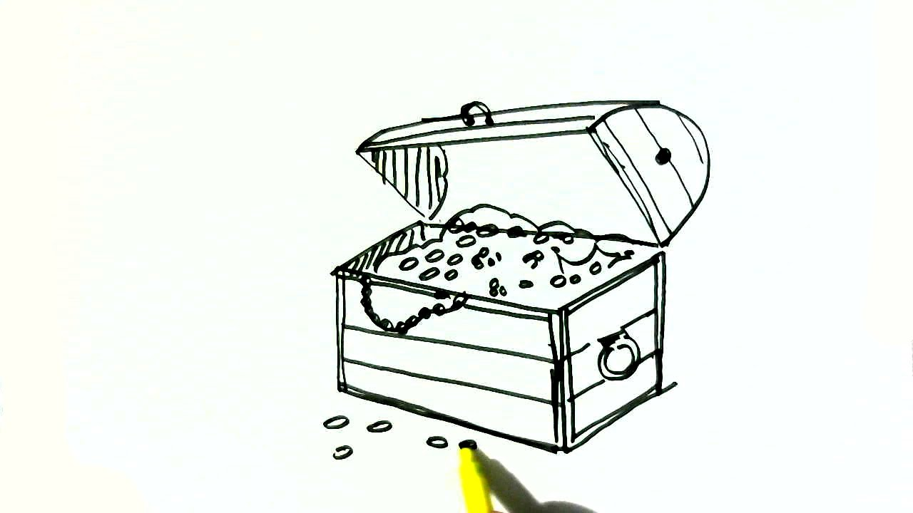 How To Draw A Treasure Chest- In Easy Steps For Children ...