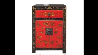 Chinese Black Red Gold Butterfly Painting Nightstand End Table Cabinet Wk2873