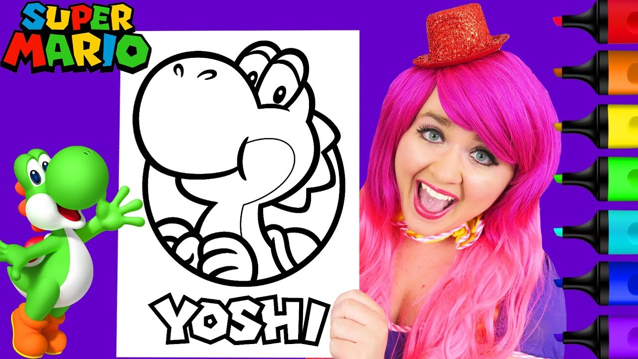 Coloring Yoshi Super Mario Nintendo Coloring Page Prismacolor Paint Markers Kimmi The Clown Youtube
