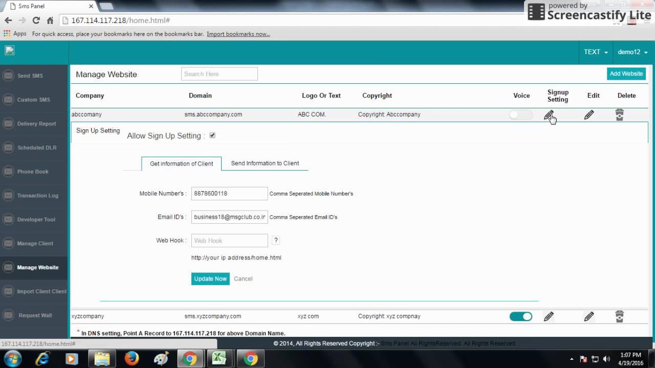 Manage Website in Reseller panel - bulksmsapp com