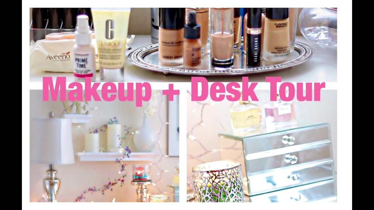 desk and vanity combo.  My makeup vanity desk tour YouTube