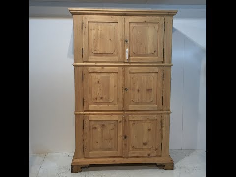 Antique Pine 19th Century Campaign Cupboard for sale - Pinefinders Old Pine Furniture Warehouse