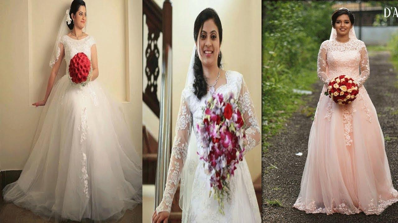 Beautiful Kerala Christian White Wedding Gowns For Bride/Latest Christian  Wedding Gowns Collections