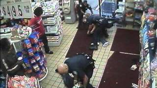 police fight in store