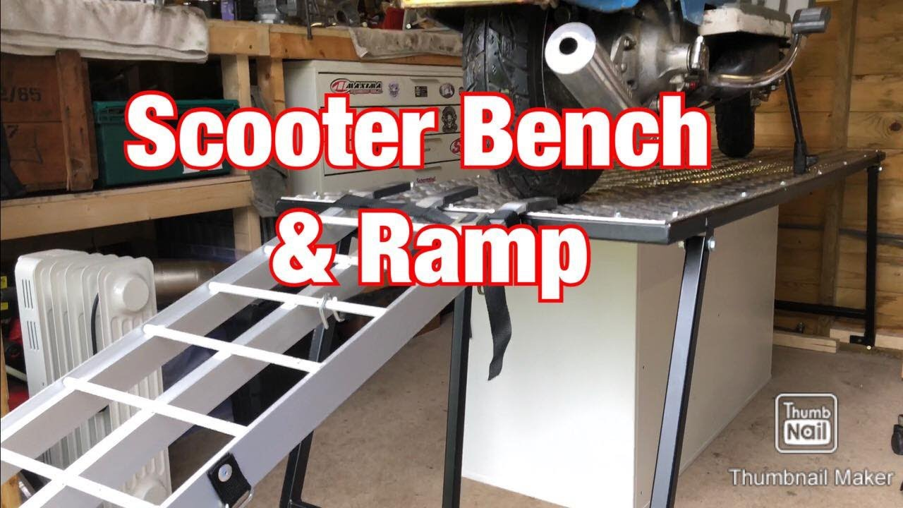 Lambretta & Vespa Scooter Work Bench & Loading Ramp - Home Mechanic Setup -  Oxford Products JB Fabs