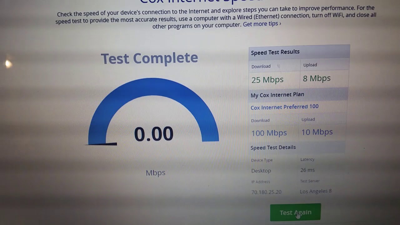 Cox Internet speed 100 mbps?