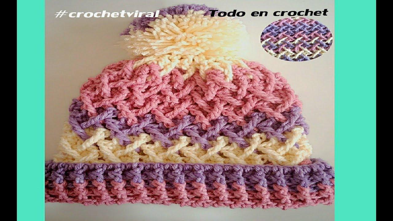 Gorro a crochet fácil y rapido punto cruzado 3D - YouTube d5ab46b8c7e