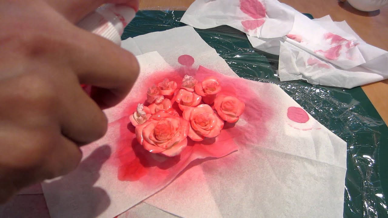 How to Colour Gum Paste Roses Using a Spray Bottle (Part 2 of 3 ...