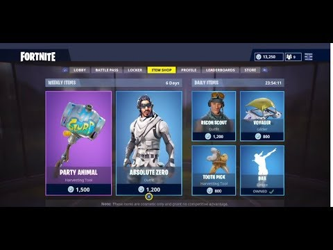 Fortnite: Battle Royal New Weekly Items ( ABSOLUTE ZERO OUTFIT, PARTY ANIMAL AXE AND MORE !!!