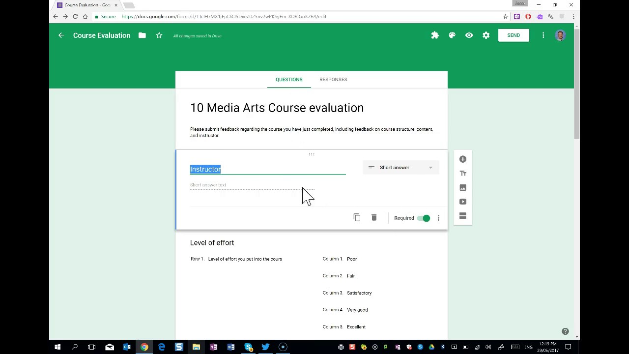 create a course evaluation survey with google forms