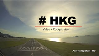 Landing at Hong Kong Intl airport (HKG/VHHH) China (Cockpit view)