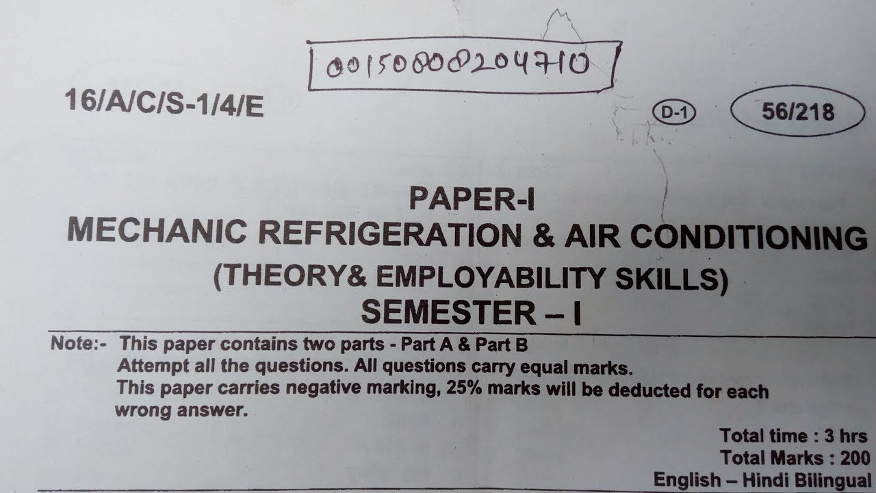 mechanic refrigeration & air conditioning iti paper - youtube