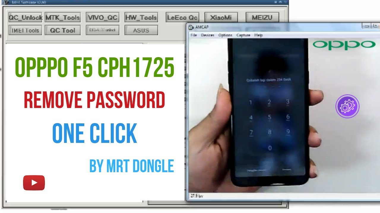 Oppo F5 CPH1725 Remove Lock Screen One Click By MRT Dongle