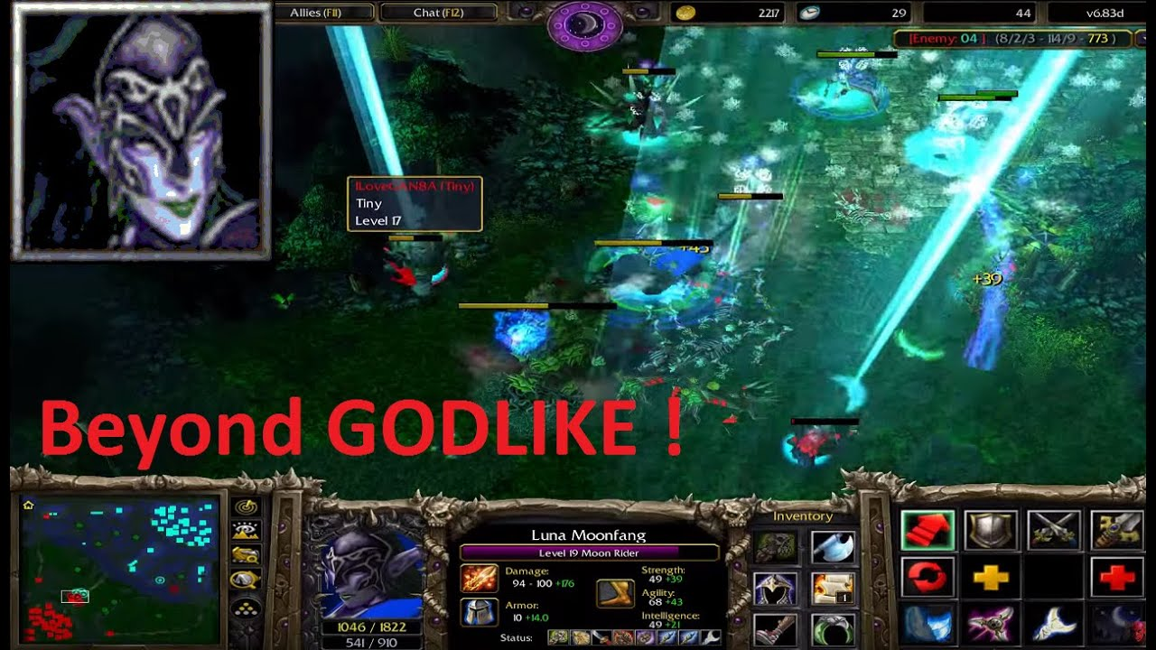 dota 6 83d luna moon rider beyond godlike youtube