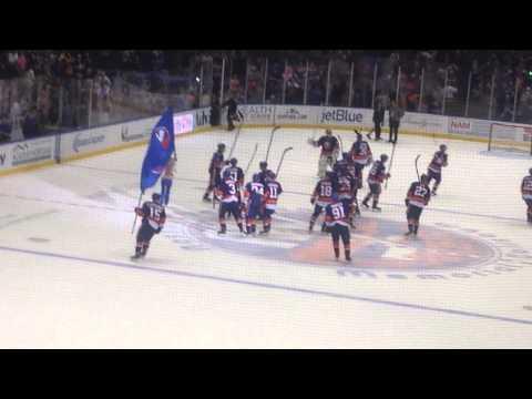 Post-Game Celebration Nassau Coliseum Islanders Defeat Flyers 1-0 in Shootout 11/24/14