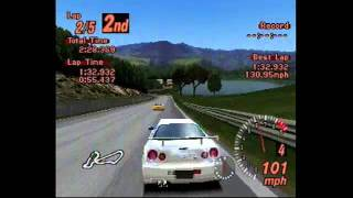 Gran Turismo 2 Nissan Skyline GT-R at Mid-Field Raceway Gameplay