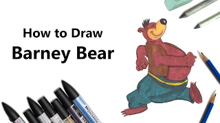 How to Draw and Color Barney Bear with ProMarkers [Speed Drawing]