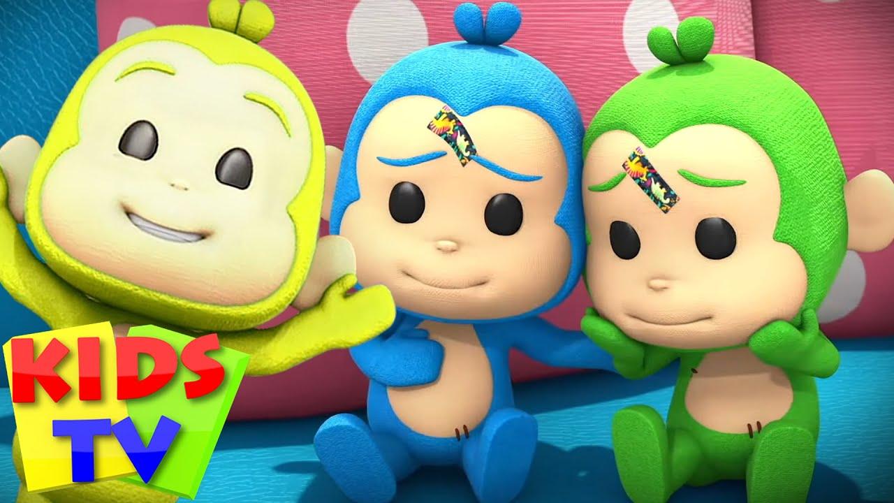 The Five Little Monkeys Jumping on the Bed | Nursery Rhymes & Cartoon Songs | Kids Tv Education