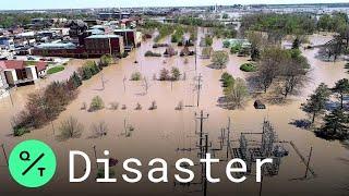 Aerial Views Show Flood Devastation in Midland, Michigan After Edenville Dam Burst
